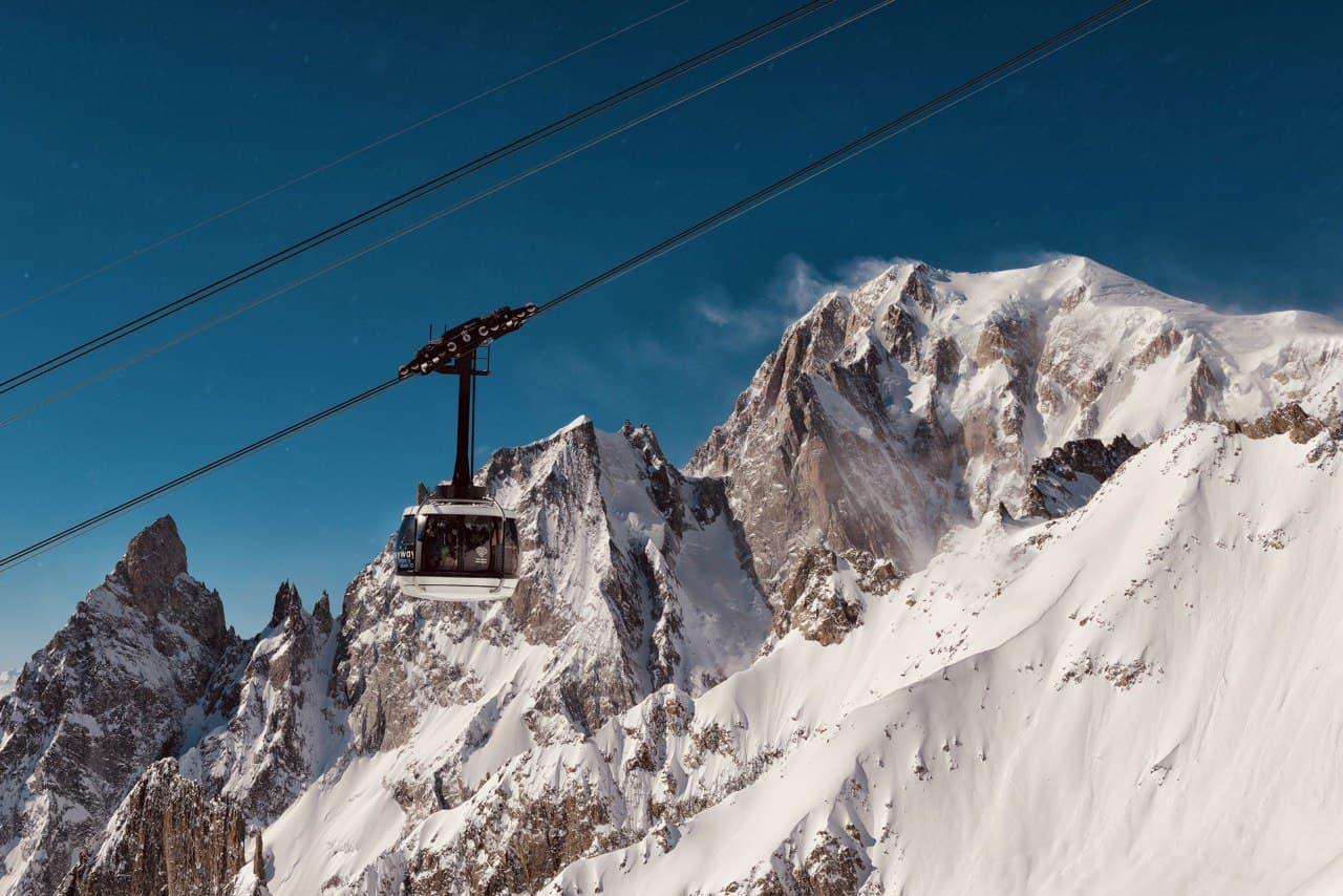 """Skyway is an engineering marvel, a 360"""" rotating cable car that connects Courmayeur to Punta Helbronner, from which you could admire a spectacularly full view of the Mont Blanc massif and the """"Giant's tooth"""" Peak."""